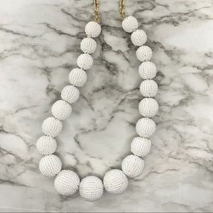 🐚 NWT J.Crew White Beaded Statement Necklace